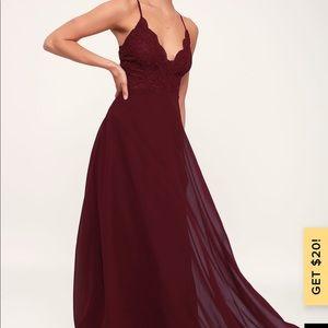 Lulus Madalyn Burgundy Lace Maxi Dress
